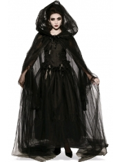 Black Netted Cape with Hood - Halloween Costumes
